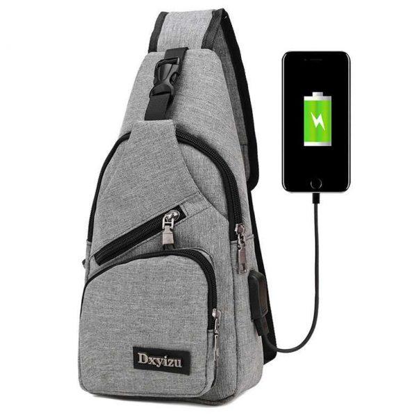 Tas Selempang Pria USB Port Kanvas Sling Bag Fashion Travel